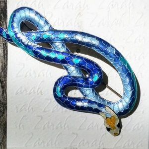 Blue enamel over sterling Eastern Indigo snake pin
